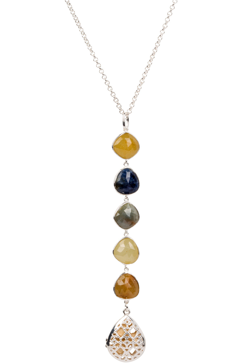 Indian Ruby and Sapphire Drop Necklace - Silver