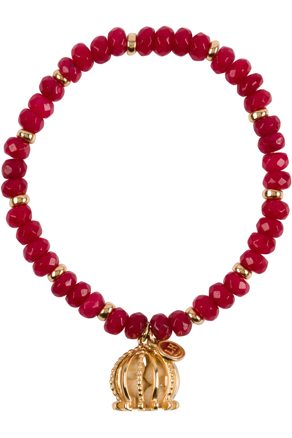 Red Imperial Jade Bracelet - Gold