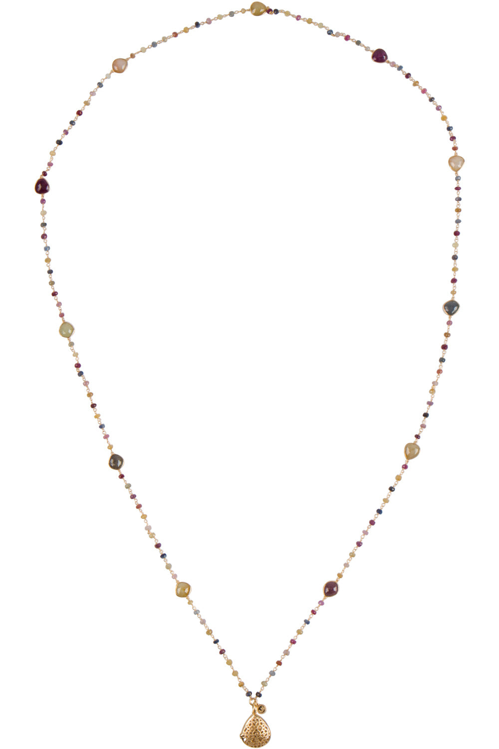 Indian Ruby and Sapphire Laurel Necklace - Gold