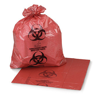 "Biohazardous Waste Bag, 25"" x 34"" Red, 1.2 mil, 250/cs"
