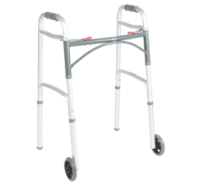 "Deluxe Folding Walker, Two Button with 5"" Wheels"