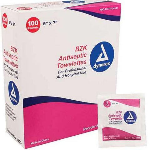 BZK Antiseptic Towelettes, 100/box