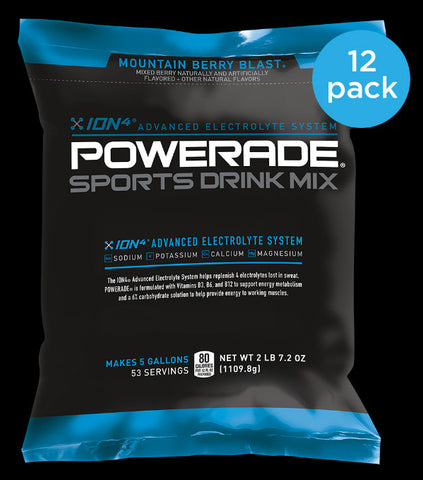 Powerade Powder Mix BULK Case - 12 packs make 5 Gallons each