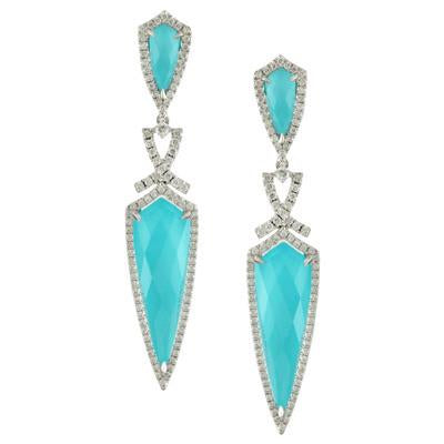 Doves Jewelry - Turquoise & White Topaz Chandelier Earrings