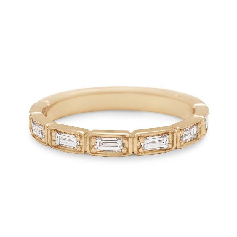Anna Sheffield - Wheat Baguette 3/4 Eternity Band Yellow Gold, Ring