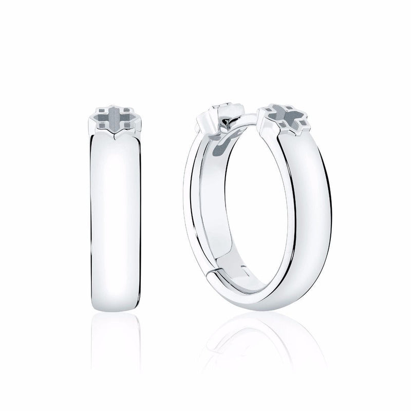 Birks - 15MM Polish Silver Hoop Earrings, Earrings
