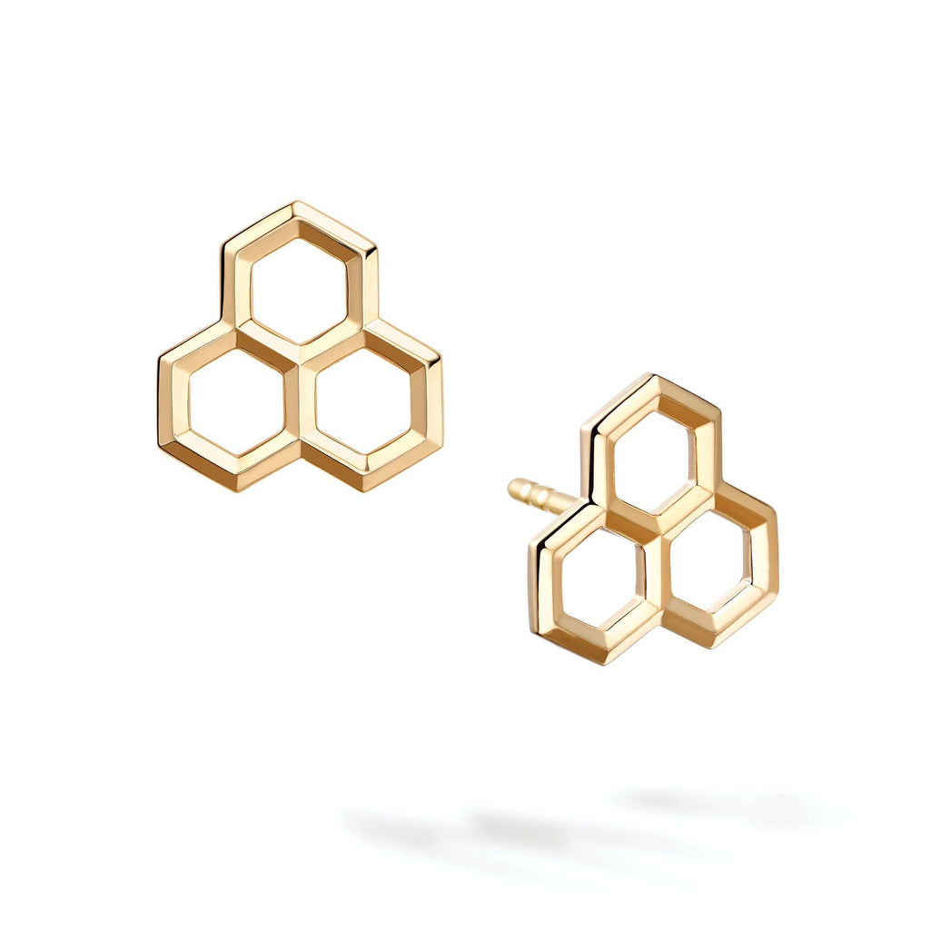 Birks - Yellow Gold Hexagons Stud Earrings, Earrings