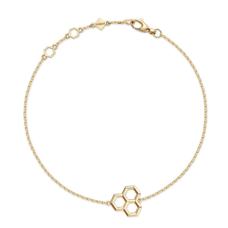 Birks - Bee Chic Yellow Gold Hexagons Bracelet, Womens Bracelets