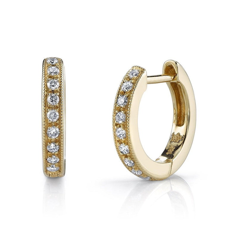 Beverley K - Mini Diamond Hoop Earrings, Earrings