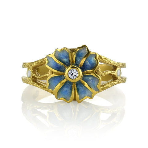 Plique-a-jour Flower Ring