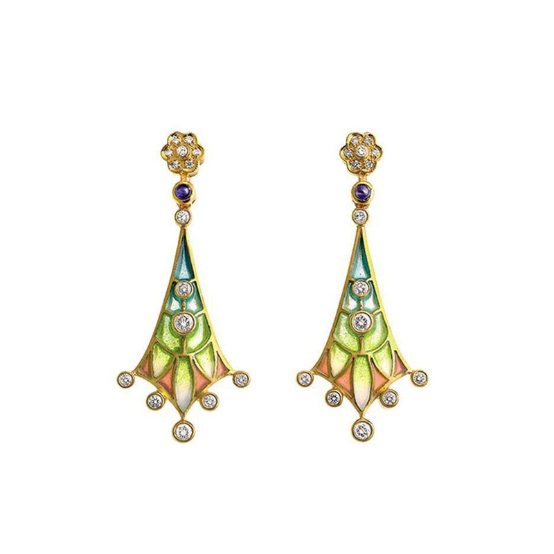 Masriera - Cabochon-cut Sapphire and Diamond Earrings, Earrings