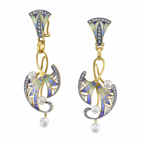 Plique-a-jour Deco Chandelier Earrings
