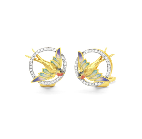 Masriera - Round Hummingbird earrings, Earrings
