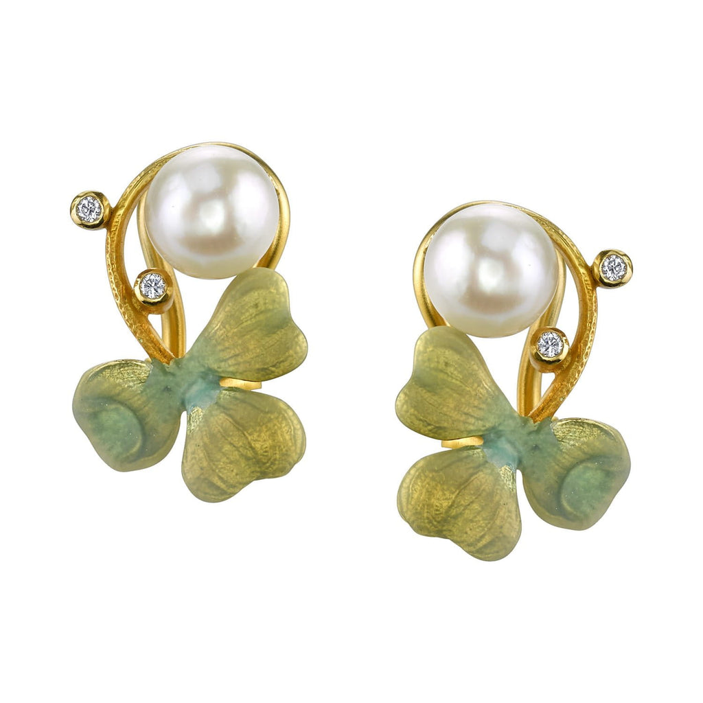 Masriera - Three-Leaf Clover Enamel Earrings, Earrings