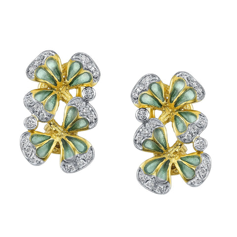 Enamel Double Clover Leaf Earrings