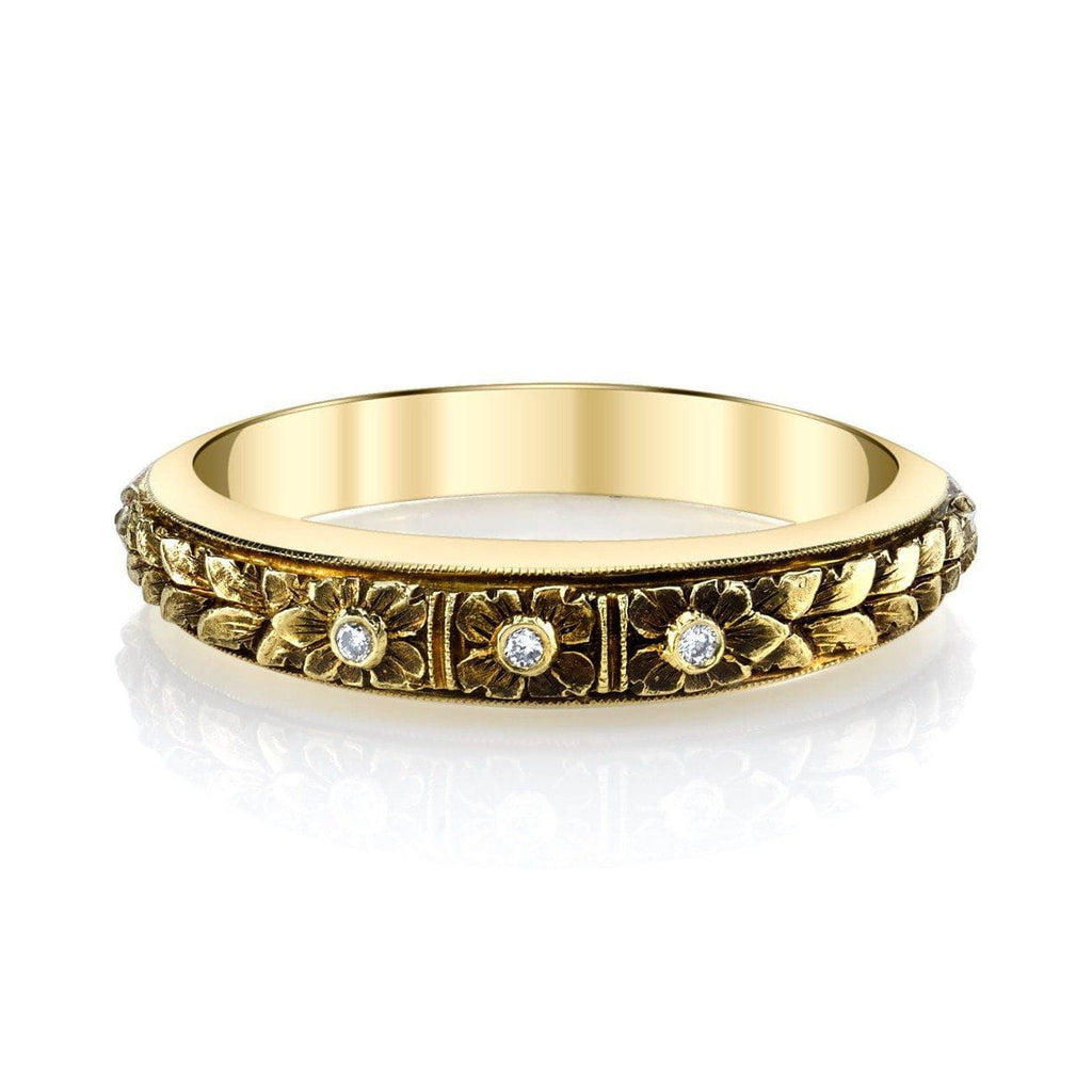 Van Craeynest - B.456 Three Flower Band in Yellow Gold, Band