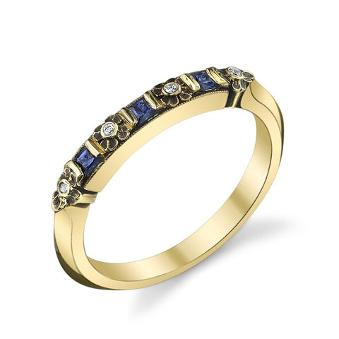 '558' Floral Sapphire Band