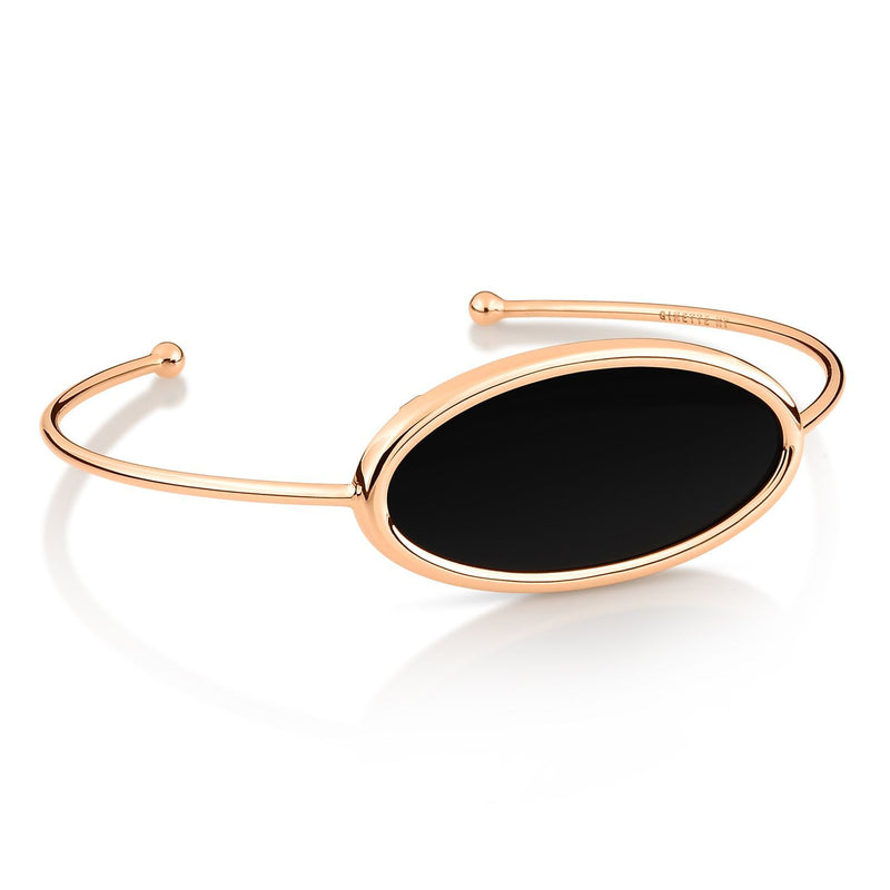 Ginette - Ellipse Open Onyx Bangle, Womens Bracelets