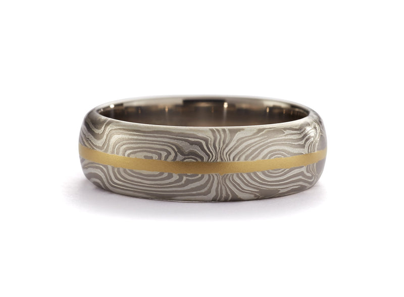 George Sawyer - Mokume Half Round Symmetry Band with Gold Inlay, Mens Wedding Band