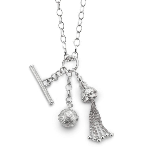 Tassel, Toggle and Ball Charm Necklace