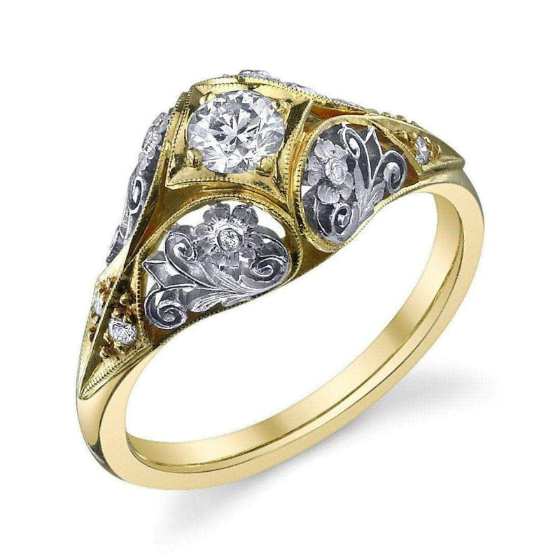 Van Craeynest 1004' Floral Engagement Ring - YG/PT Engagement Ring
