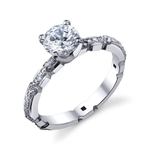 '812' Floral Semi-mount Engagement Ring