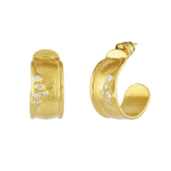Gurhan - Pointelle Diamond Hoop Earrings, Earrings