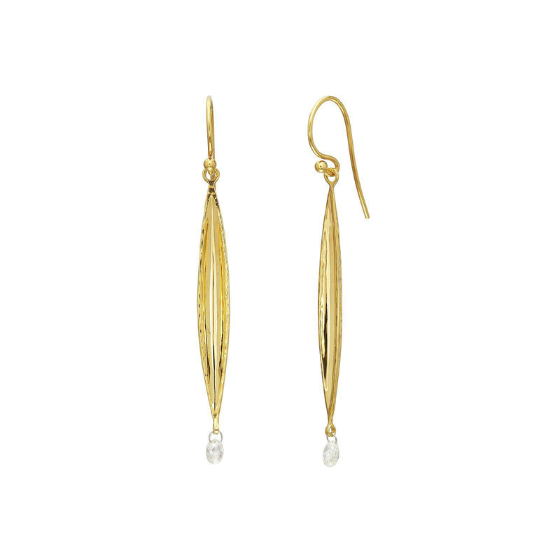 Gurhan - Wheat Drop Earrings, Diamond briolettes, 40mm, Earrings