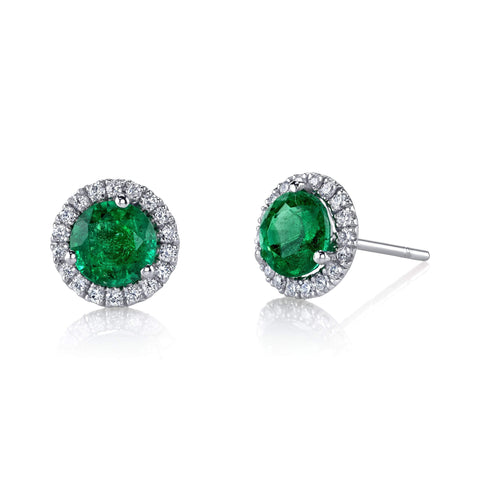 Emerald Halo Stud Earrings