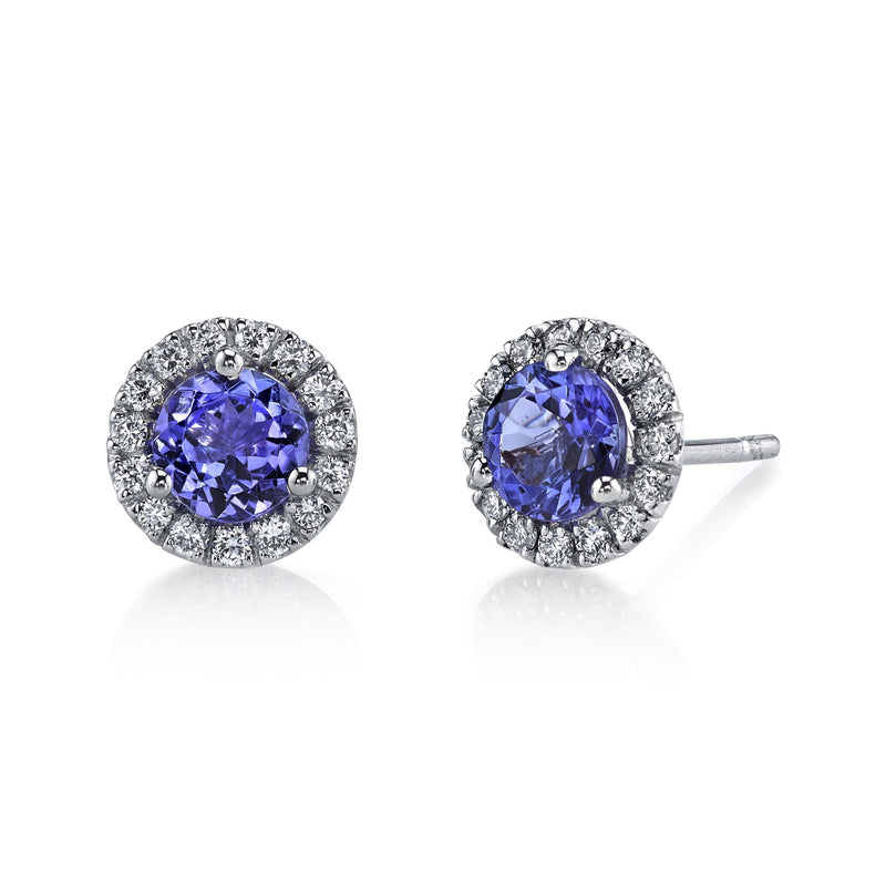 Emerson & Farrar - Tanzanite Halo Stud Earrings, Earrings