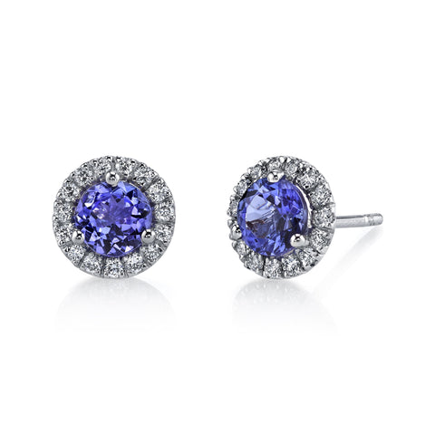 Tanzanite Halo Stud Earrings
