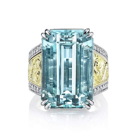 Unheated Emerald Cut Aquamarine & Diamond Ring