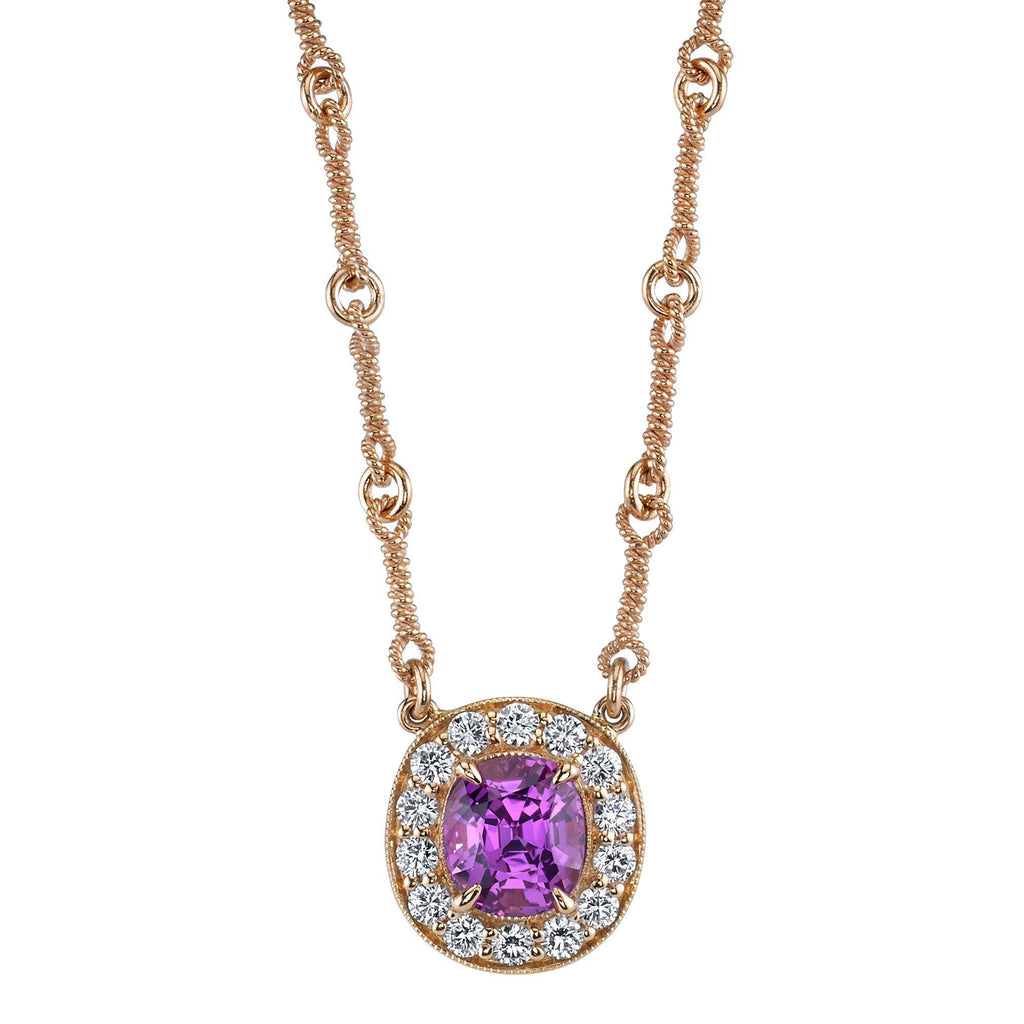 Pink Sapphire Halo Necklace