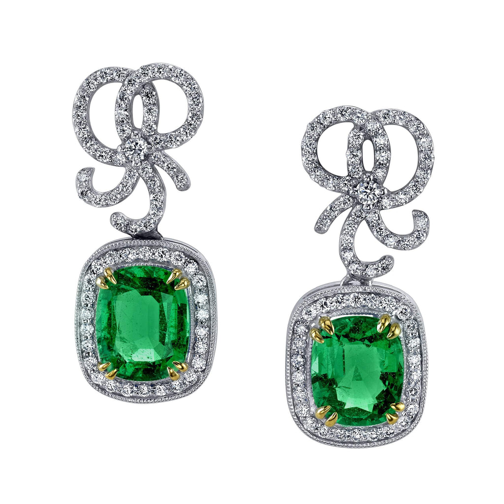Emerson & Farrar - Emerald & Diamond Bow Earrings, Earrings