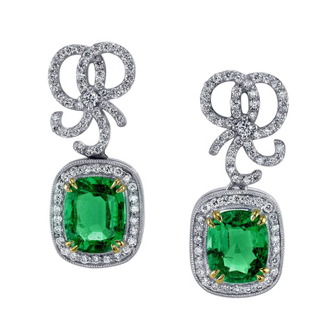 Emerald and Diamond Bow Earrings