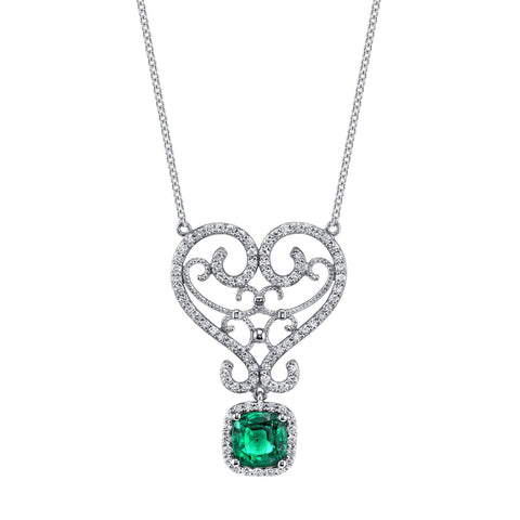 Emerson & Farrar - Cushion Cut Emerald Tiara Necklace, Necklace