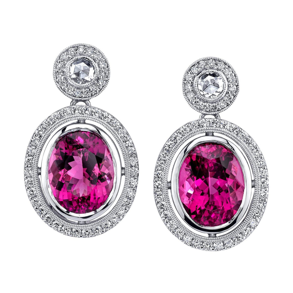 Pink Tourmaline and Rose Cut Diamond Earrings
