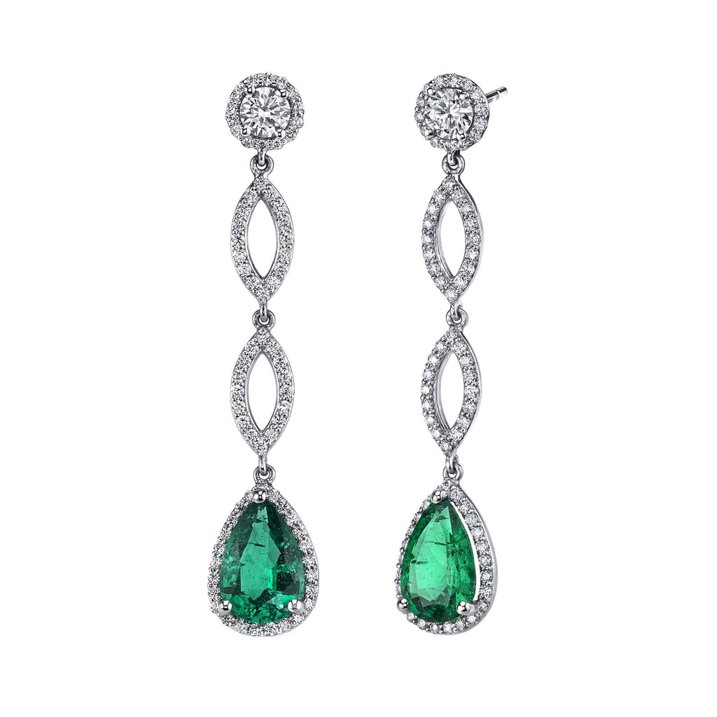 Emerald Infinity Chandelier Earrings