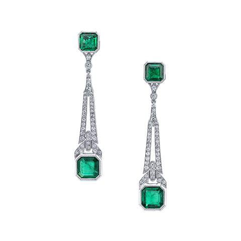 Emerson & Farrar Emerald Chandelier Art Deco Earrings Earrings