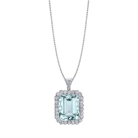 Emerald Cut Aquamarine Pendant
