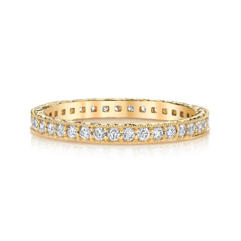 Emerson & Farrar - 18K yellow gold Hand-engraved diamond eternity band, Ring