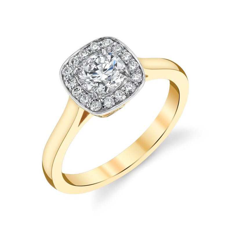 Emerson & Farrar - Diamond halo engagement ring 18K YG 0.57ct, Engagement Ring
