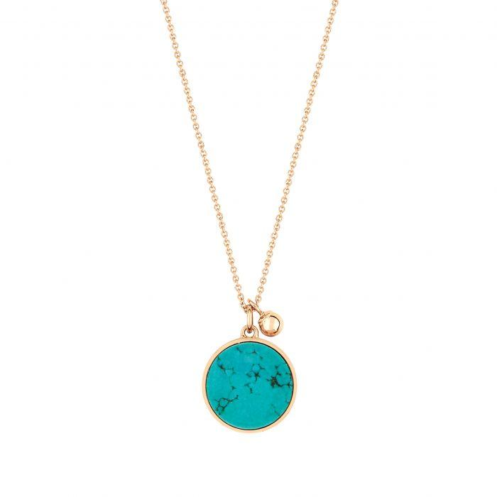 Ginette - ever turquoise disc on chain, Necklace