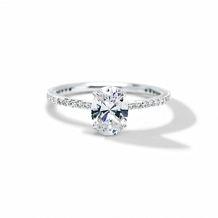 ILA Oval Pave Engagement Ring Semi Mount 3 / White Gold