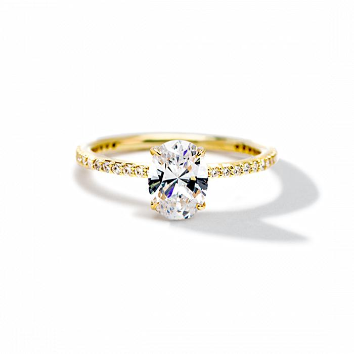 ILA Oval Pave Engagement Ring Semi Mount 3 / Yellow Gold