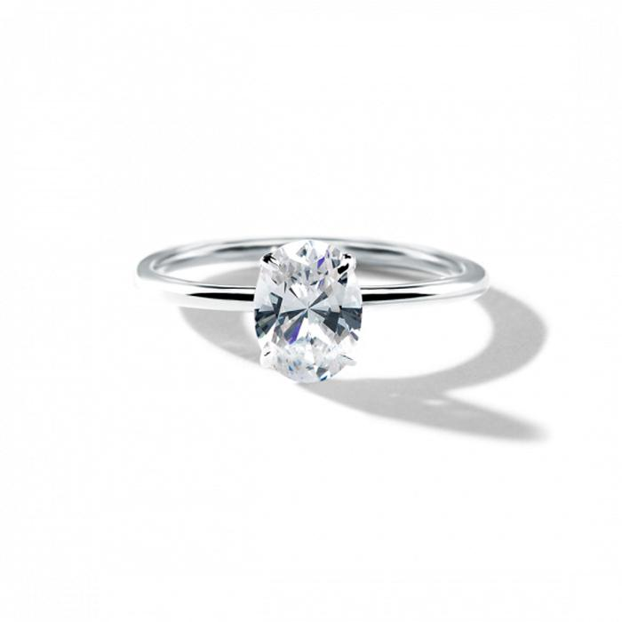 ILA Oval Diamond Engagement Ring Semi Mount 3 / White Gold