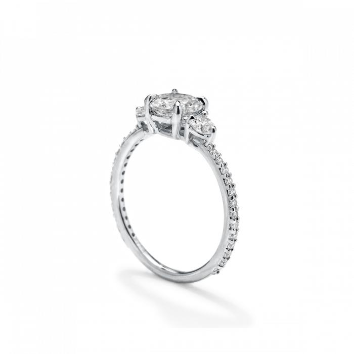 ILA - 3 Diamond Pave Engagement Ring, Semi Mount