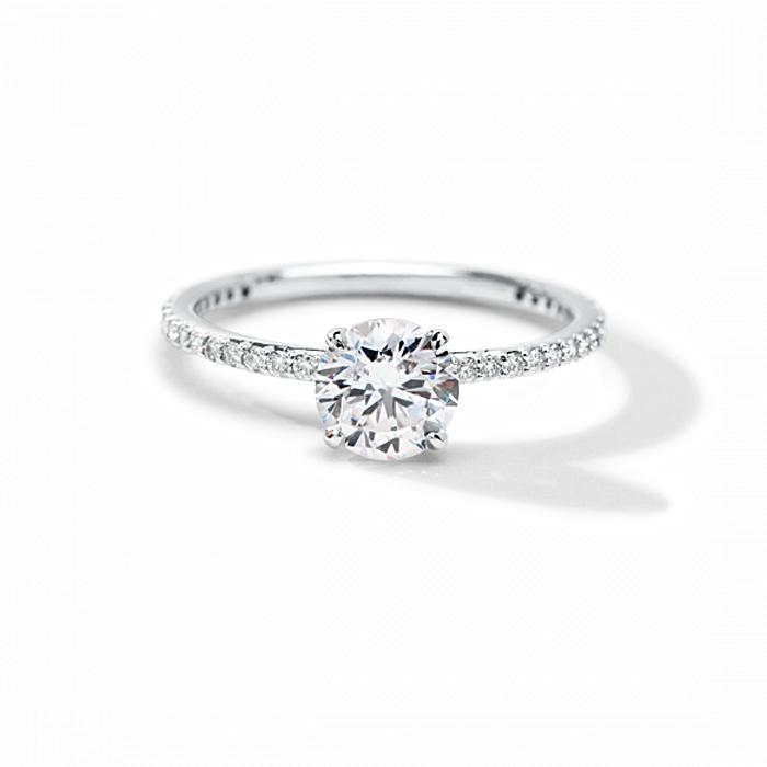 ILA Round Pave Engagement Ring Semi Mount 3 / White Gold