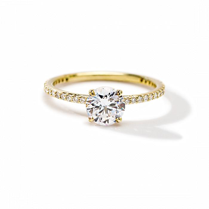 ILA - Round Pave Engagement Ring, Semi Mount