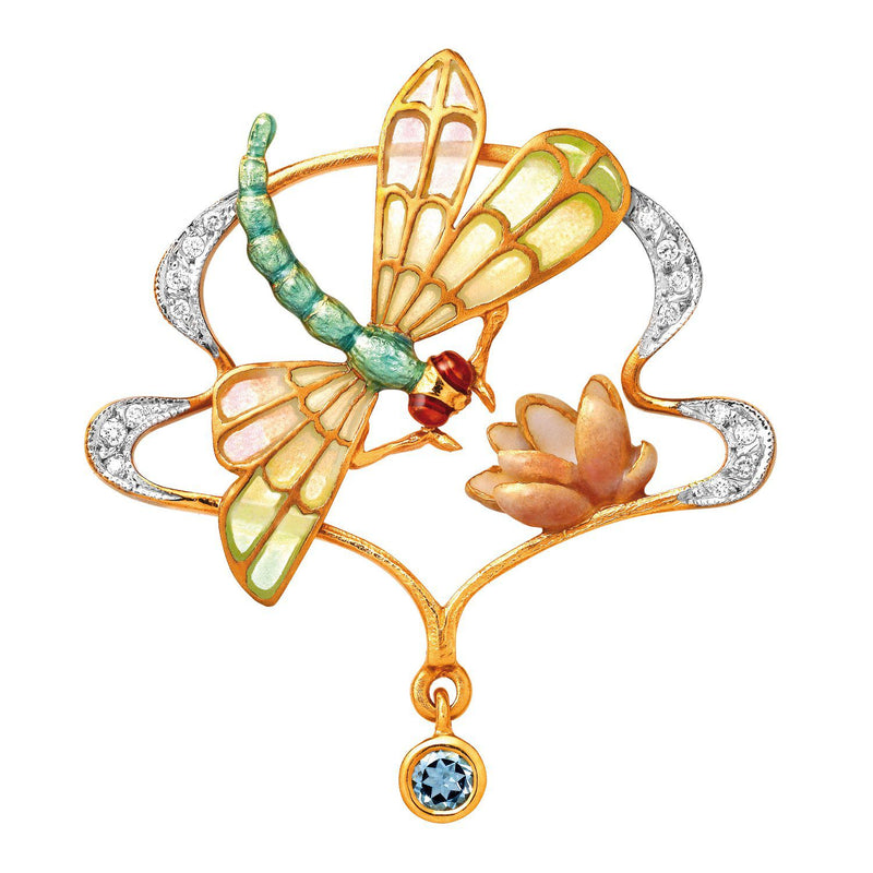 Masriera Dragonfly and Waterlily Pendant Pendant